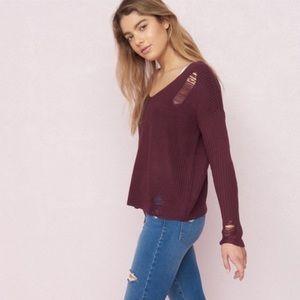 Maroon distressed sweater